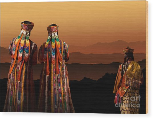 Monks From Bhutan Wood Print