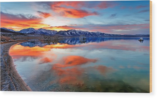 Mono Lake Sunset 3 Wood Print