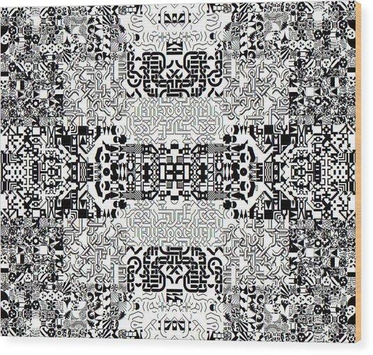 Monochrome Geometric Random Glyphs Wood Print