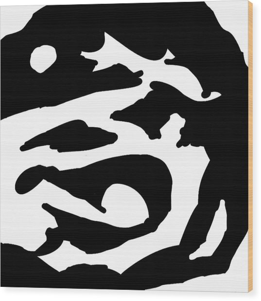 Monochrome New1builder3 Glyph 2 Wood Print