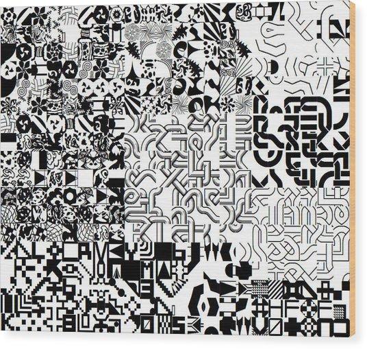 Monochrome Random Glyphs Wood Print