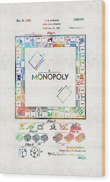 Monopoly Game Board Vintage Patent Art - Sharon Cummings Wood Print
