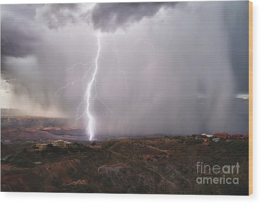 Monsoon Lightning Hits Clarkdale Arizona As Seen From Jerome Wood Print