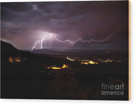 Monsoon Lightning In Jerome Az Wood Print
