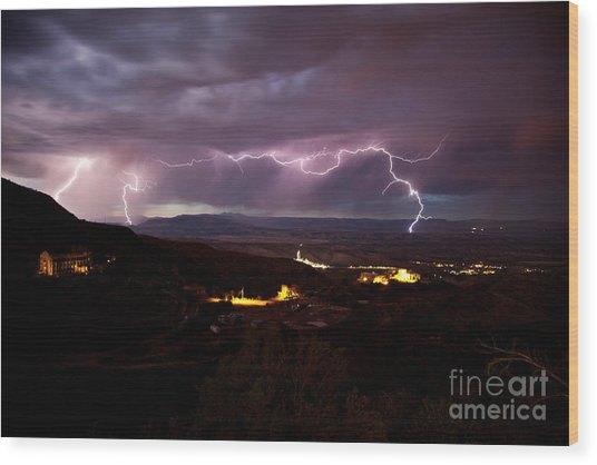 Monsoon Lightning Jerome Wood Print