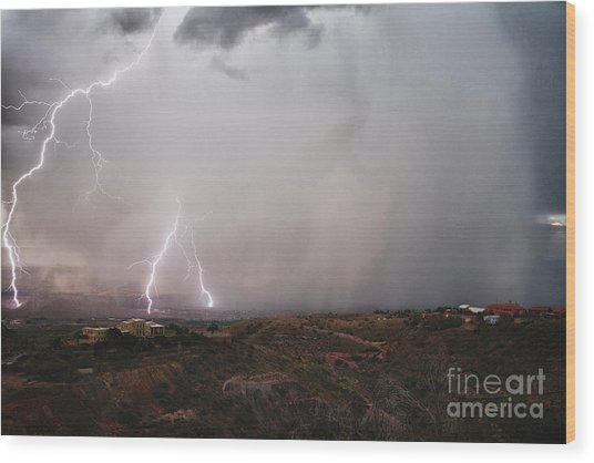 Monsoon Lightning Storm Over The Jerome State Park In The Verde Valley Arizona Wood Print
