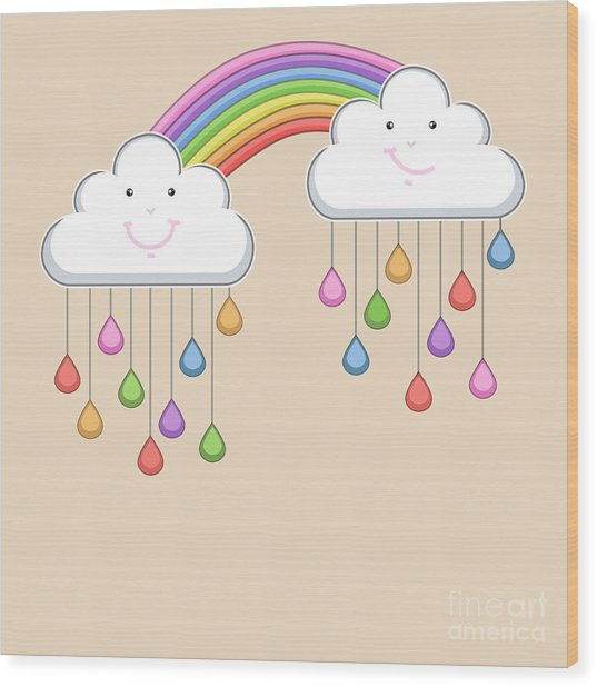 Monsoon Season Background With Happy Wood Print by Allies Interactive