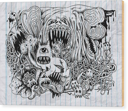Monster Drawing.hand Drawn Monster With Wood Print