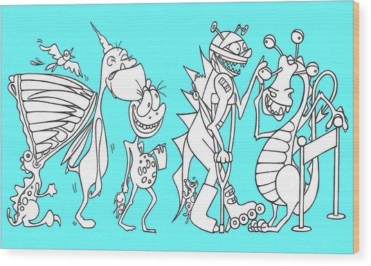 Monster Queue Blue Wood Print