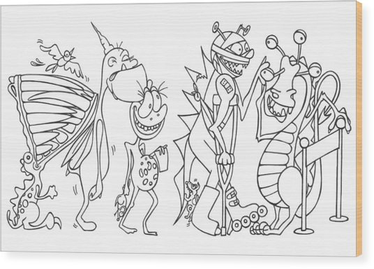 Monster  Queue Wood Print