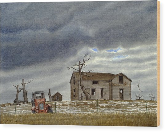 Montana Abandoned Homestead Wood Print
