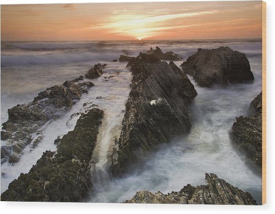 Montana De Oro Sunset 1 Wood Print