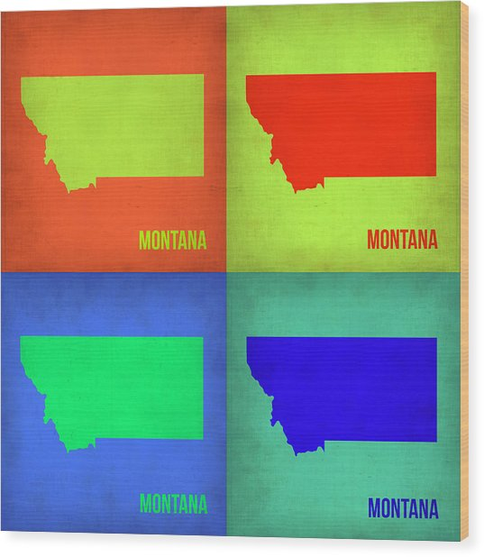 Montana Pop Art Map 1 Wood Print