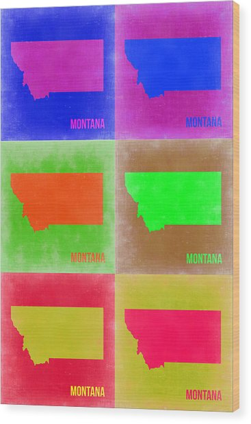 Montana Pop Art Map 2 Wood Print