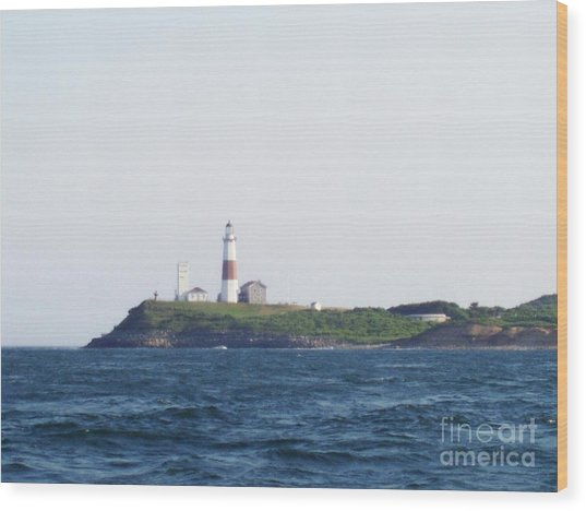 Montauk Lighthouse From The Atlantic Ocean Wood Print