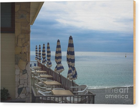 Monterosso Outdoor Cafe Wood Print