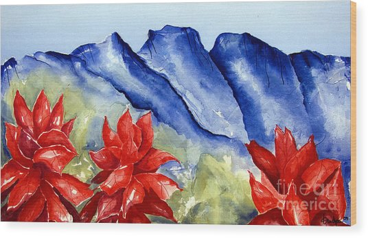Monterrey Mountains With Red Floral Wood Print