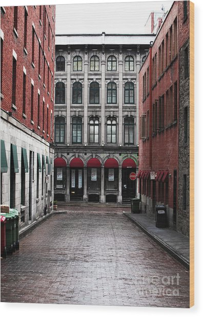 Montreal Alley Wood Print by John Rizzuto
