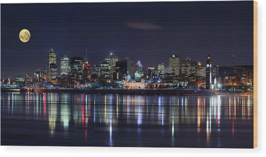 Montreal Night Wood Print by