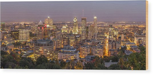 Montreal Skyline At Night Wood Print