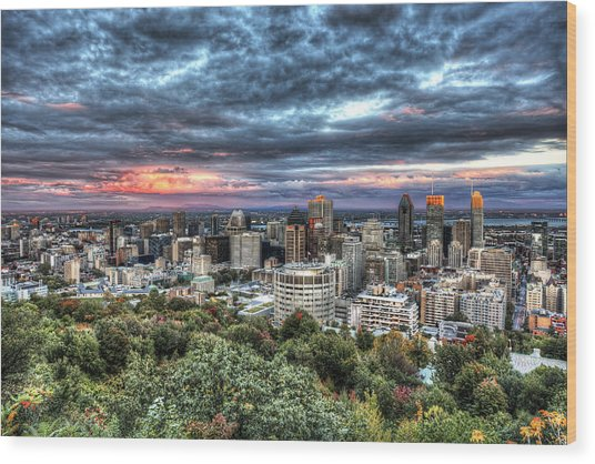 Montreal Skyline Sunset From Mount Royal Wood Print