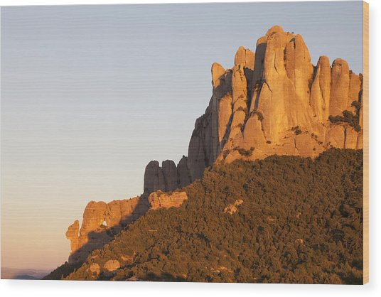 Montserrat At Sunset Wood Print by Javier Fores