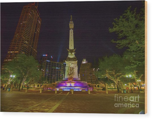 Monument Circle Indianapolis Digital Oil Paint Wood Print by David Haskett