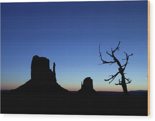 Monument Valley Dawn With Mittens And A Wood Print