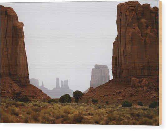 Monument Valley Mist Wood Print
