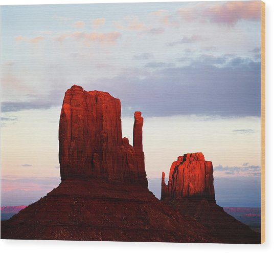 Monument Valley Mittens At Sunset Wood Print