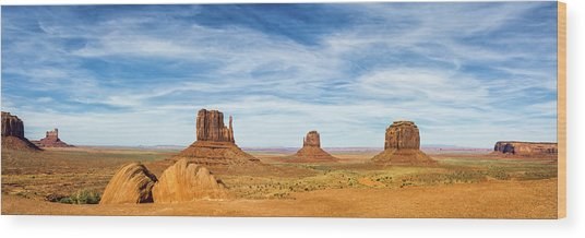 Monument Valley Panorama - Arizona Wood Print