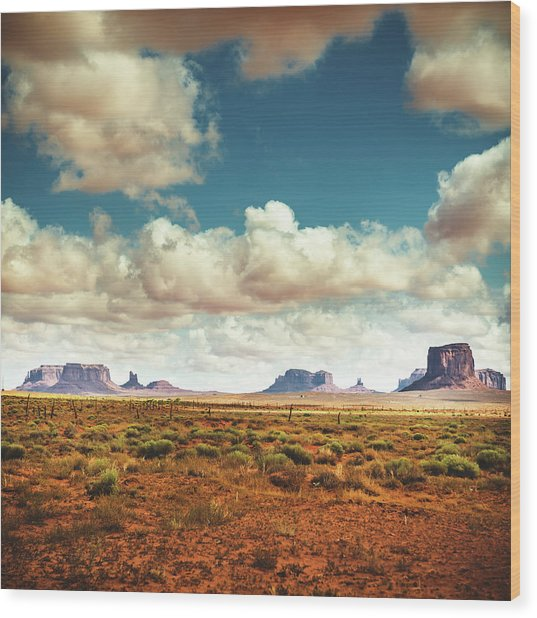 Monument Valley Panoramic View Wood Print by Franckreporter