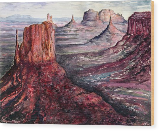 Monument Valley Arizona - Landscape Art Painting Wood Print
