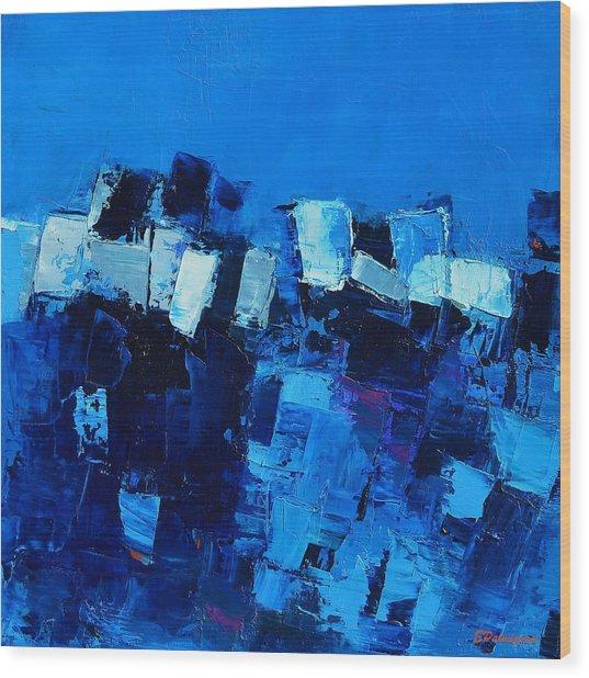Mood In Blue Wood Print