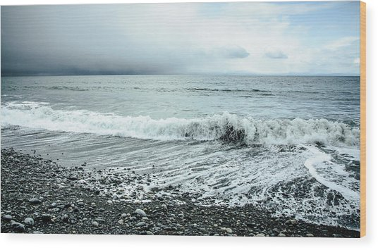 Moody Shoreline French Beach Wood Print