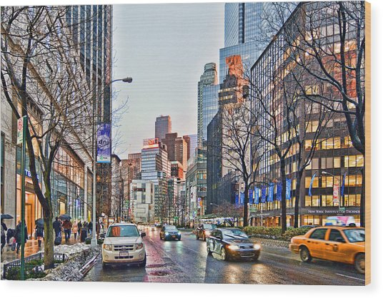 Moody Afternoon In New York City Wood Print
