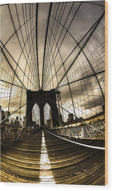Moody Brooklyn Bridge Wood Print by Chris Halford