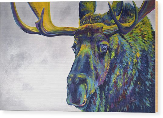 Moody Moose Wood Print