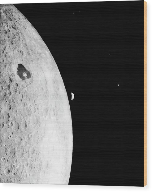 Moon And Earth From Lunar Orbiter 1 Wood Print