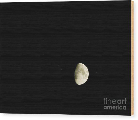 Moon And Jupiter Wood Print