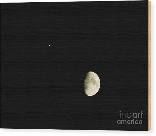 Moon And Jupiter Wood Print
