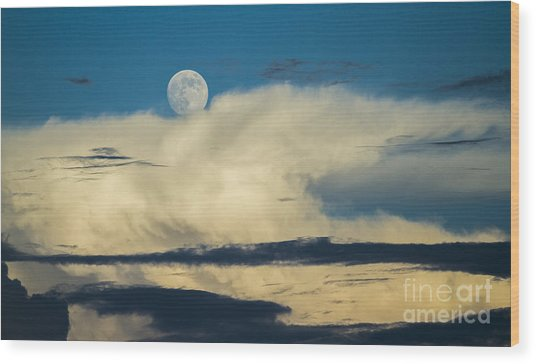 Moon And Thunderclouds Wood Print