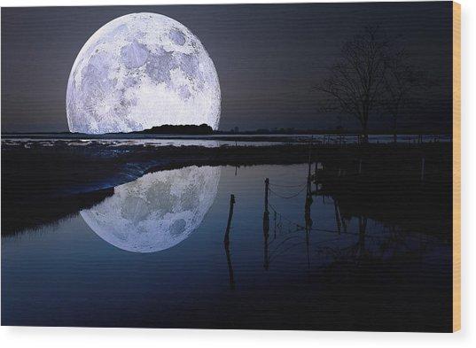 Moon At Night Wood Print