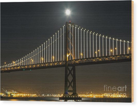 Moon Atop The Bridge Wood Print