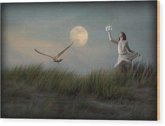 Moon Child Wood Print by Hazel Billingsley