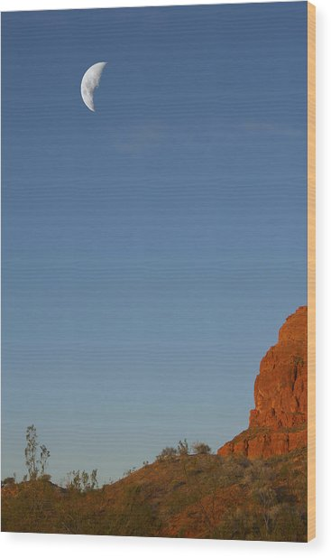 Moon Cliff Wood Print