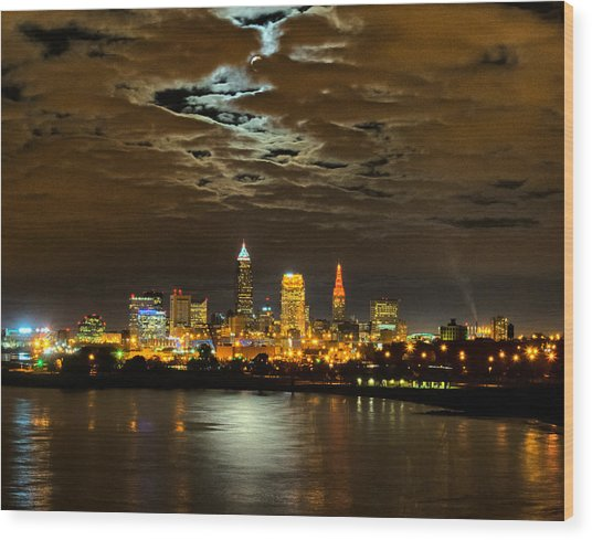 Moon Clouds Over Cleveland Wood Print
