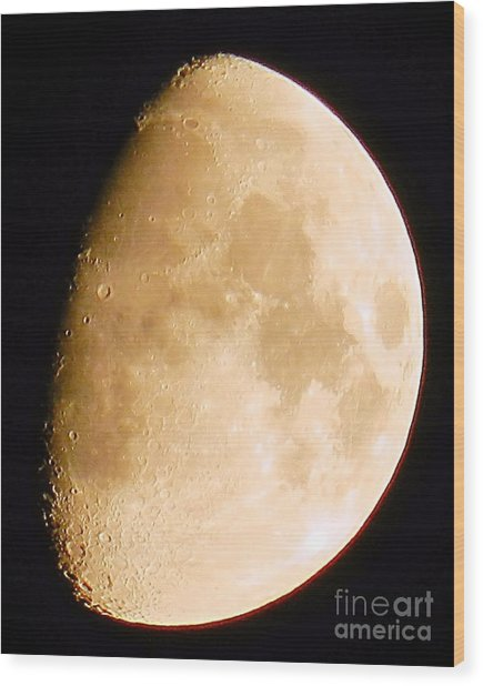 Moon Craters Galore Wood Print