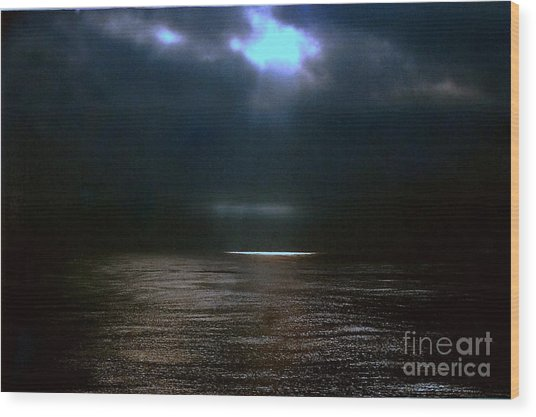 Moon Glow Over The Gulf Of Mexico Wood Print by Michael Hoard