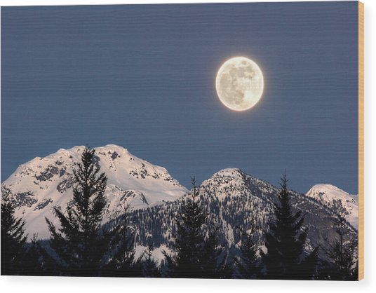 Moon Glow Whistler Canada Wood Print
